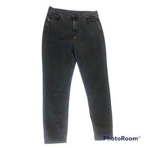 American eagle black mom jeans straight leg denim size 14 extra long